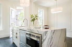 marble island kitchen marble waterfall kitchen island design ideas
