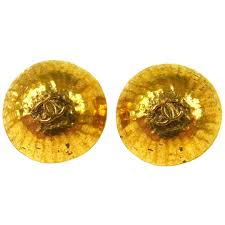 button earrings chanel vintage cc logos button earrings gold clip on 0 9