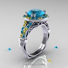 engagement rings topaz images Caravaggio 14k white gold 3 0 ct blue topaz yellow sapphire jpg
