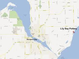 Map Of Door County Wi Linda Sheard U0027s Lily Bay Pottery Of Door County Gallery Studio And
