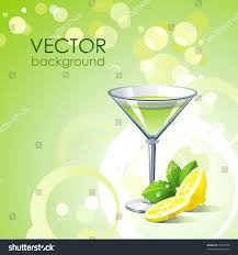 martini mint vector green background alcohol cocktail lemon stock vector