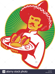 cartoon sombrero illustration of a mexican chef wearing sombrero hat serving a