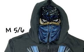 halloween hoodie jacket coat mask mesh face boys youth girls