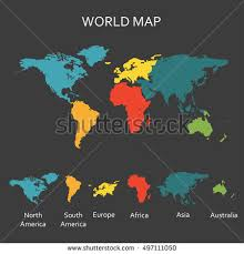 continents on map continents map stock images royalty free images vectors