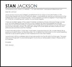 Cover Letter For sle cover letter for a lecturer position livecareer