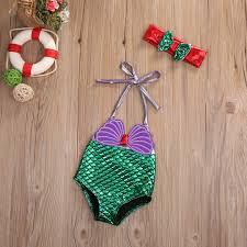 baby u0027s little mermaid full purple u0026 green swimsuit bathing