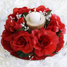 Candle Rings 16 Candle Rings With Silk Roses Wedding Flowers For