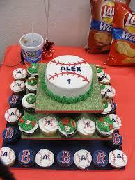 red sox baseball birthday cake and cupcakes baseball birthday