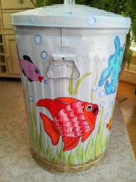 painted trash cans cool decor stuff pinterest craft