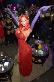 costumes at halloween city heidi klum stuns in elaborate jessica rabbit halloween costume