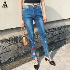 alibaba jeans women 2017 high waist jeans with embroidery denim jeans casual rose