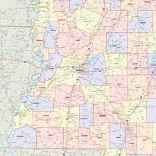 Ms Map Mississippi Counties Wall Map Maps Com