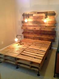 stunning wood pallet bed frame with lights 78 on interior decor