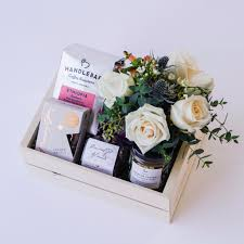 floral gift box coffee and treats gift box with flowers delivery in santa