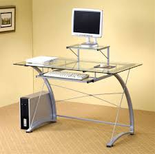 Metal And Glass Computer Desks Contemporary Metal Glass Computer Desk Desk Ideas
