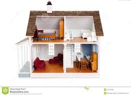 child u0027s doll house with furniture on white stock photography