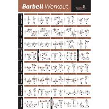 barbell workout exercise poster laminated home gym weight