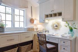 desk area with sunburst mirror laundry room traditional and
