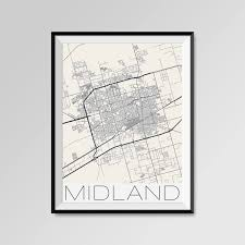 Midland Texas Map Midland Texas Map Midland City Map Print Midland Map Poster