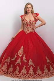 aliexpress com buy princess ball gown red gold quinceanera