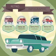 vintage cars clipart vintage car infographic vector image 1252475 stockunlimited