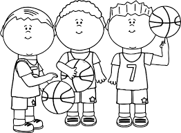 friends playing basketball coloring page wecoloringpage