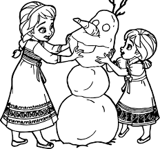 young anna elsa snow man coloring page wecoloringpage