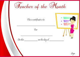 sample employee of the month certificate teacher of the month certificate templates 11 word award