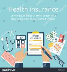 design style man table fills form health insurance stock vector 397809358