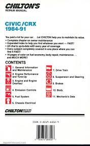 chilton honda civic crx 1984 1991 repair manual