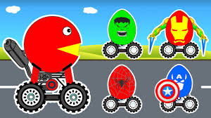 learn colors surprise eggs with pacman cars cartoon for children