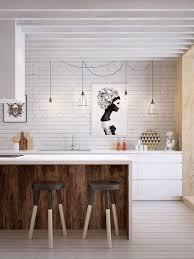 cuisine scandinave design cuisine scandinave design blanche touches de noir et mur briques