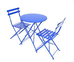 Garden Table And 2 Chairs Blue Metal Bistro Set 2 X Chairs 1 X Table Folds Flat Amazon