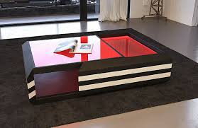 Xxl Wohnzimmer Tisch Moderner Couchtisch Ravenna Ausziehbar In Leder Mit Beleuchtung