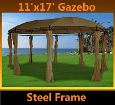 Steel Canopy Frame by Amazon Com 11 U0027x17 U0027 Deluxe Steel Frame Gazebo With Sidewalls