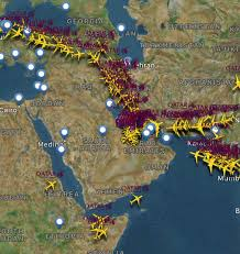 Doha Map Qatar Airways Air Traffic Appears To Be Using Iranian Airspace