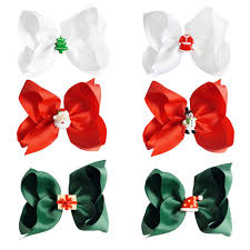 christmas hair accessories 5 new fashion solid ribbon christmas hair bow with clip for