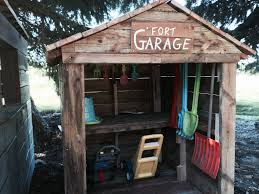 outside playhouse plans old decking reclaimed wood fort garage kids playhouse diy
