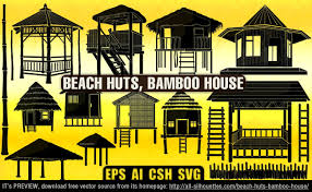 beach huts bamboo house all silhouettes