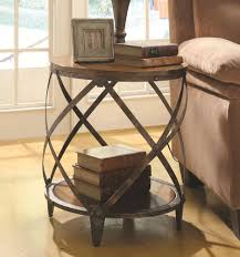 small accent table discount furniture warehouse chicago round rustic metal wood end table