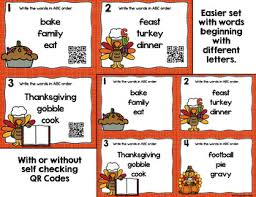 thanksgiving abc order task cards with optional qr codes by