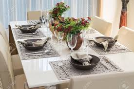 modern furniture dining room dining table and comfortable chairs in modern home with elegant