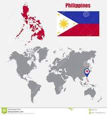 Philippine Flag Means Philippines Map On A World Map With Flag And Map Pointer Vector