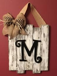 Monogram Letters Home Decor by Monogrammed Door Decor Wedding Gift Distressed Rustic Dorm Decor