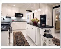 White Kitchen Cabinets With Black Countertops Kitchen With Black Countertops For Design Home And