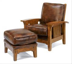 Wood And Leather Chair With Ottoman Design Ideas Uncategorized Reading Chair With Ottoman Within Top Leather