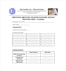 11 vacation tracking templates free sample example format