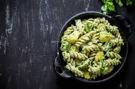 indian style cold pasta salad with potatoes and green chutney