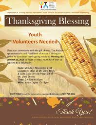 thanksgiving blessing youth volunteer opportunitycook inlet