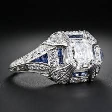carat asscher cut diamond art deco engagement ring image in